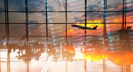 Double exposure silhouettes of passenger sitting at the airport. Business airline concept.