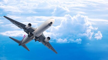 The plane take off to the beautiful sky to fly to the destination. International airline concept