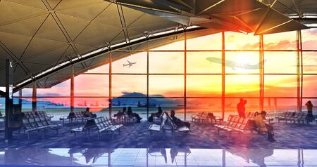 Silhouettes passenger airport. Airline travel concept. Stock fotó