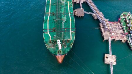 Aerial view of tankers Landing at the port to transport oil to Hong Kong Port Stock fotó