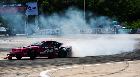 Khon Kaen, Thailand - 14 June 2019: Car Drift Competition series at Khon Kaen Outdoor Yard,Thailand