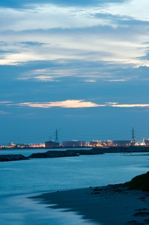 Night scene of petrochemical after sunset in Thailand photo
