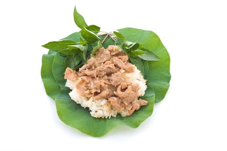 stirred: Stirred pork with sticky rice , One of most popular Thai street foods for breakfast