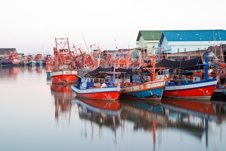 fishing village: Colorful fishing boat in Lamcharoen Bay ,Thailand