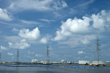 Petrochemical industry under beautiful sky in Maptaput indrustrial park, Thailand photo