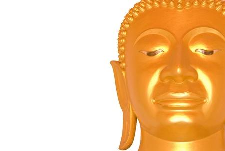 Close up buddha face on white bckground photo