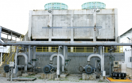Cooling towers pipe line in petrochemical plant  photo