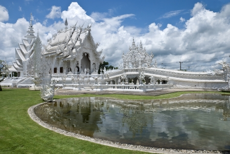Beautiful art of white temple in Thailand photo