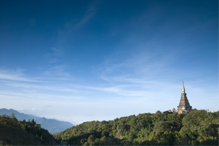 Pagoda on the top of mountain at Intanon national park, Thailand photo