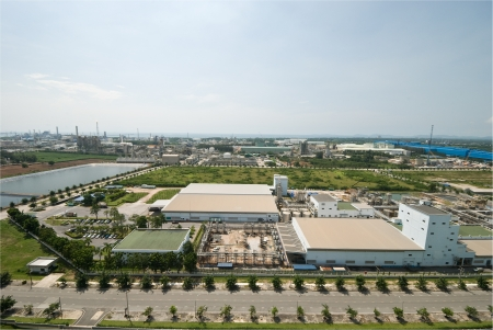 manufacturer: Top view of petrochemical industrial estate in Thailand Stock Photo