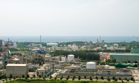 Top view of petrochemical industrial estate in Thailand photo