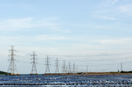 Energy Distribution Network - Electricity Pylons in Thailand photo