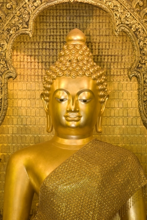 Beautiful ancient golden buddha in Thailand