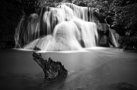 Huay Mae Kamin , beautiful waterfall in green forest, black and white photo