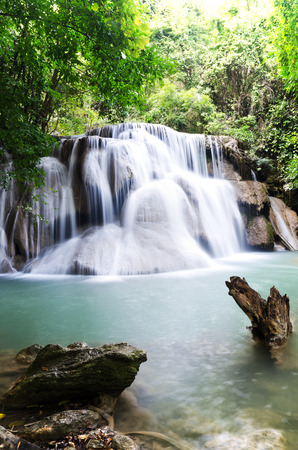 Huay Mae Kamin , beautiful waterfall in green forest, Thailand photo