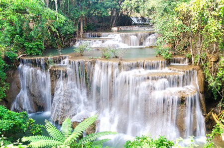 kamin: Huay Mae Kamin , beautiful waterfall in green forest, Thailand Stock Photo