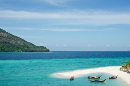 Lipe Island, beautiful sea and white sand beach in Thailand photo
