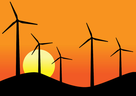 spinning windmill: Wind turbines sunset background vector design