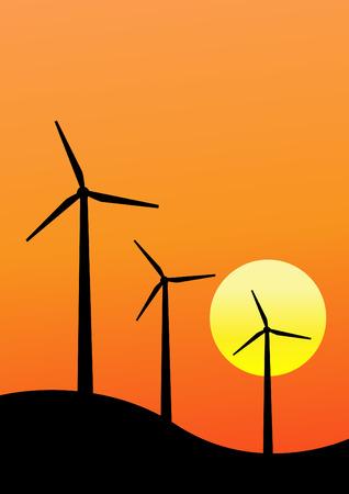 windpower: Wind turbines sunset background vector design