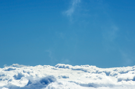 cloud drift: Bright sky and Clouds, a view from top of mountain Stock Photo