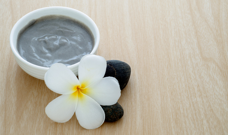 spa mud: Natural mud mix in yogurt for spa treatment on wooden background