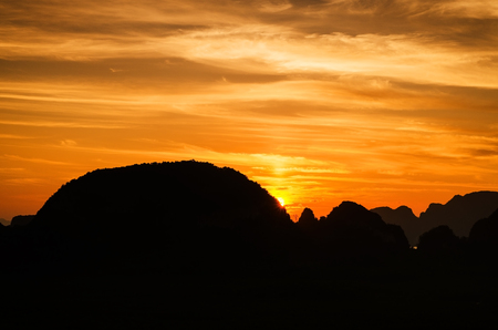 dramatic sunrise: Amazing view of dramatic sunrise over Phangnga bay in Thailand