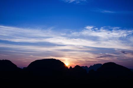 phangnga: Amazing view of dramatic sunrise over Phangnga bay in Thailand