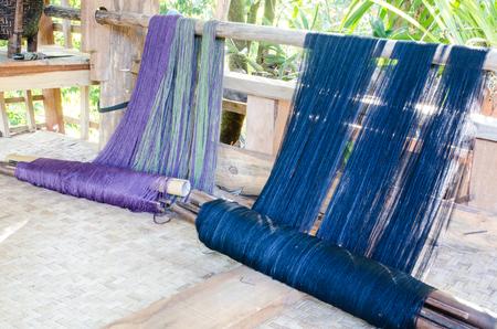 tela algodon: Weave of cotton cloth in Karen village, Chiang Mai,Thailand