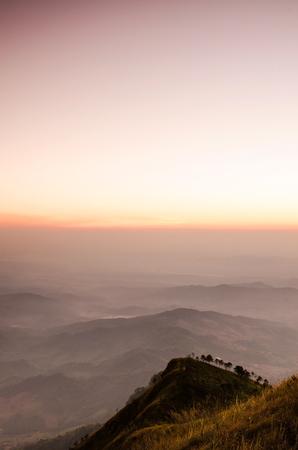 Amazing view of sunset on valley at Phu Lang ka, Thailand