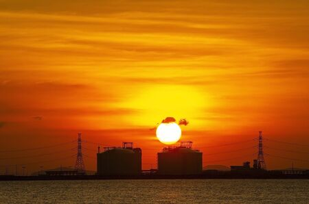 Beautiful sunset over petrochemical industry in Thailand