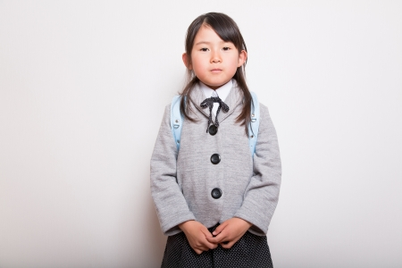Young Japanese student ready to go to school photo