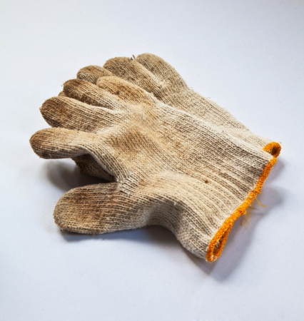 dirty: Image of dirty glove on white background.