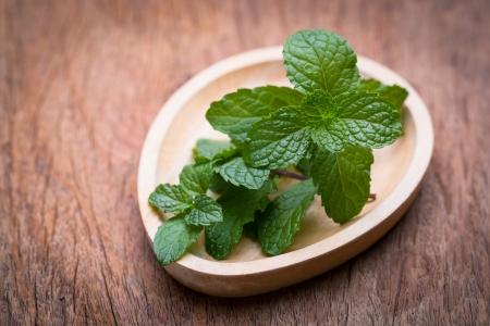 テーブルの上の緑の新鮮なミントのイメージ