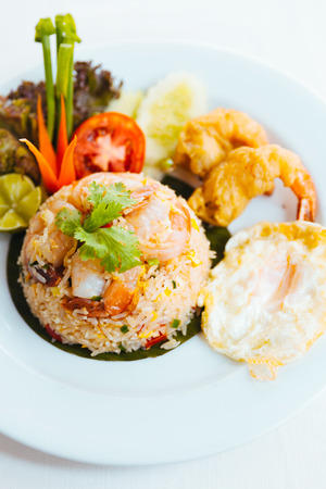 ingradient: shrimp fried rice with fried egg Stock Photo