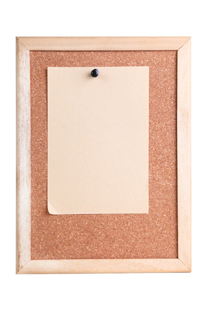 cork board with wooden frame on white background 写真素材