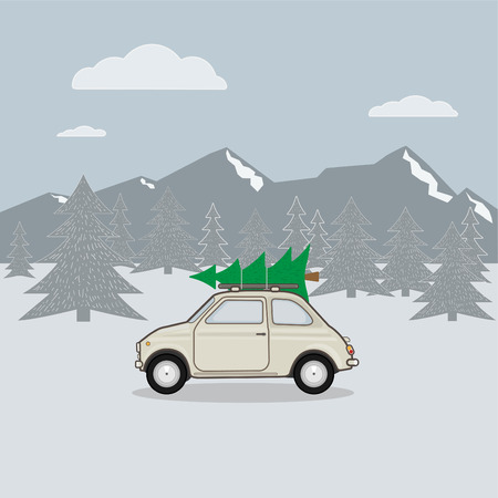 vector illustration of car carrying Christmas tree