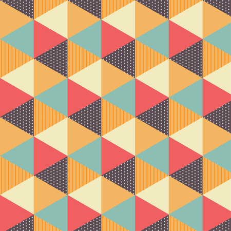 Vintage colored  triangular seamless pattern.  イラスト・ベクター素材