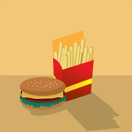 vector illustration of hamburger and french flies