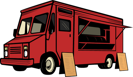 vector illustration of red foodtruck isolated on white