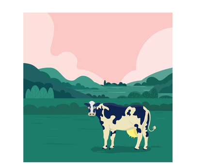 vector illustration of a dairy eating grass in farm