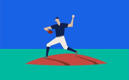 a baseball player throwing the ball on pitch, vector illustration  イラスト・ベクター素材