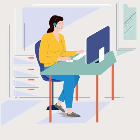 a,  lady working with desktop computer, vector illustration Illustration