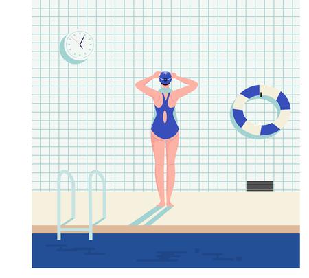 een meisje dat zich voorbereidt om in het zwembad te zwemmen, vectorillustratie Vector Illustratie