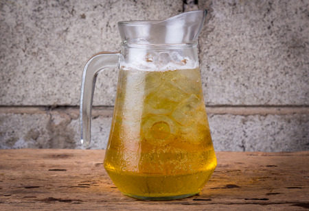 unbottled: The pitchers of beer Stock Photo