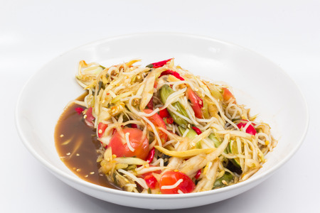 long beans: Papaya Salad on a white background