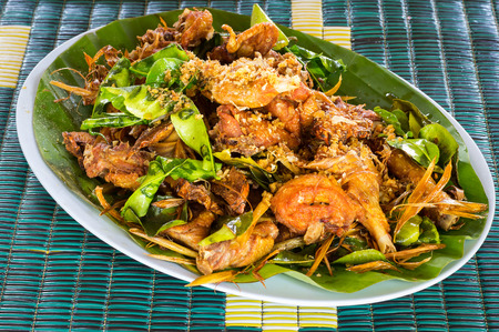 fried food: Thai style food, fried chicken with herb.