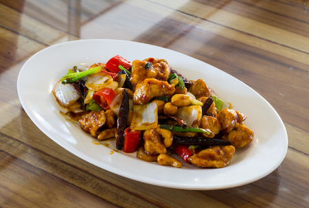 Stir-fried Chicken with cashew nuts Stock Photo