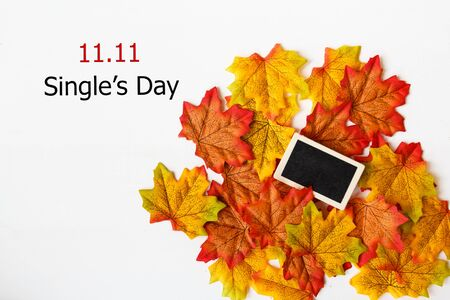 Online shopping of China, 11.11 singles day sale concept. Mini blackboard for text and maple leaf with text 11.11 singles day sale on white background.