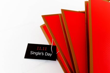 Online shopping of China, 11.11 singles day sale concept. The back ticket 11.11 single day sale tag.