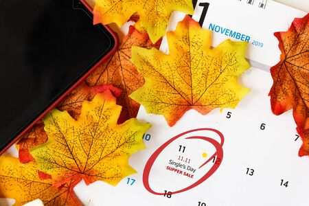 Single's day sale concept of China, 11.11. Calendar to remain 11.11 single's day sale with maple leaf